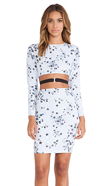 May. Flame Long Sleeve Mini Dress in Pansy Print