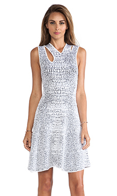 McQ Alexander McQueen Crocodile Body Con Dress in Optic White & Black