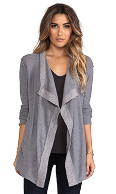 Michael Stars Slub Cotton Long Sleeve Cascade Cardigan in Galvanized