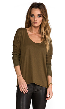 Michael Stars Scoop Neck Sweater in Army Green
