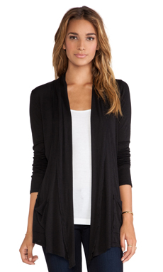 Michael Stars Slub Raw Edge Open Cardigan in Black