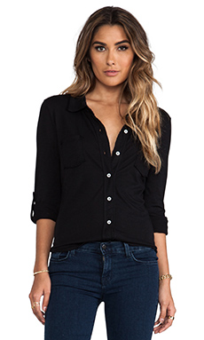 Michael Stars Essentials Long Sleeve Raw Edge Fitted Button Down Shirt in Black