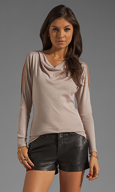 Michael Stars Long Sleeve Drape Neck With Split Sleeves in Sunstone