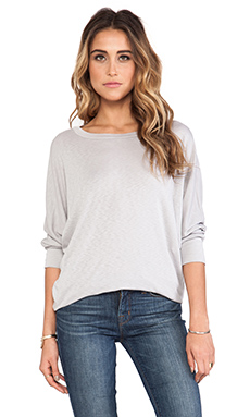 Michael Stars 3/4 Sleeve Wide Neck Dolman Tee in Oyster