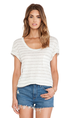 Michael Stars Scoop Neck Tee Stripe in Heather Grey