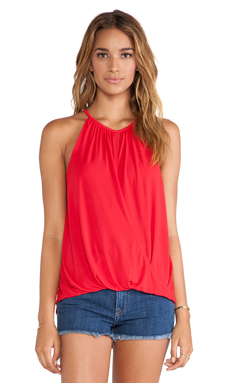 Michael Stars Keyhole Hi-Low Halter in Crimson