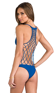 MIKOH Xavier Crochet Detailed Back One Piece in Deep Sea