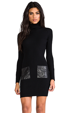 Milly Knit Slim Rib Leather Pocket Dress in Black