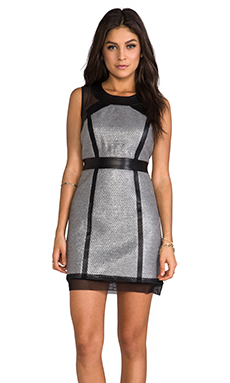 Milly Laminated Italian Dress in Silver