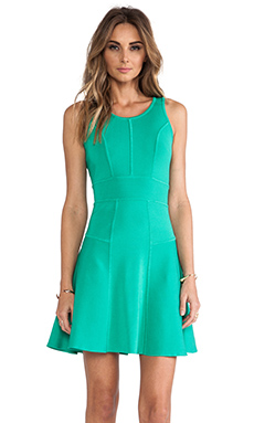 MILLY Fit and Flare Stretch Dress in Jade