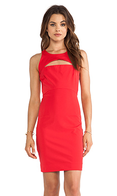 MILLY Cutout Slim Dress in Tomato