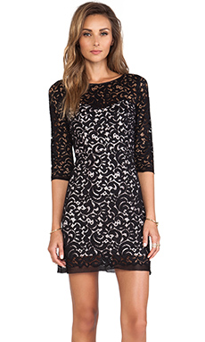 MILLY Floral Lace Ally Dress in Black & Blush