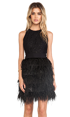 MILLY Blair Feather Dress en Noir