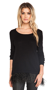 MILLY Ostrich Plume Sweater in Black