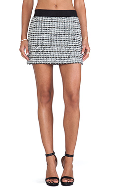 MILLY Featherweight Italian Tweed Mini Skirt in White