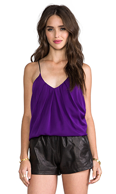 Milly Stretch Silk Crepe Tank in Violet