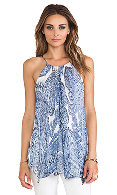 MILLY Watercolor Paisley Print Gathered Tank in Denim
