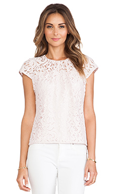 MILLY Lace Cap Sleeve Top in Blush & Blush