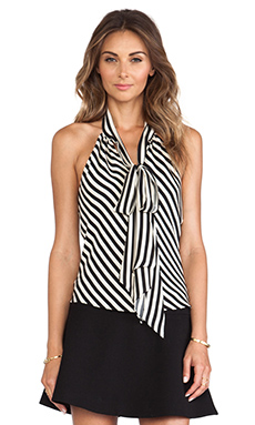 MILLY Royal Stripes Bow Halter in Black & White