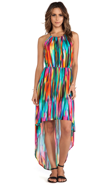 MILLY High-Low Halter Dress in Multi