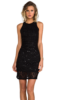 MM Couture by Miss Me Racer Front and Back Sequin Dress in Black