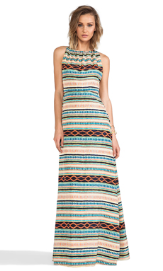 MM Couture by Miss Me Tribal Stripe Maxi Dress in Multi Print