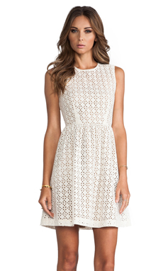 MM Couture by Miss Me Sleeveless Eyelet Dress in White
