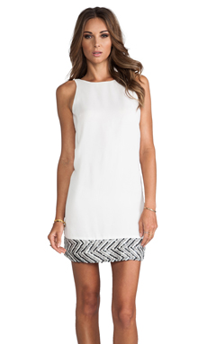 MM Couture by Miss Me Sequin Hem Sleeveless Dress in White