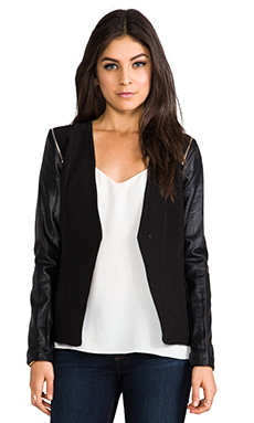 MM Couture by Miss Me Faux Leather Sleeve Jacket in Black