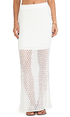 MM Couture by Miss Me Sheer Panel Maxi Skirt in White