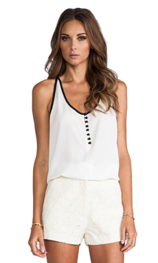 MM Couture by Miss Me Back Pleated Tank in White