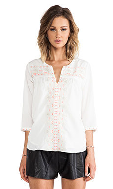MM Couture by Miss Me Beaded Blouse in White