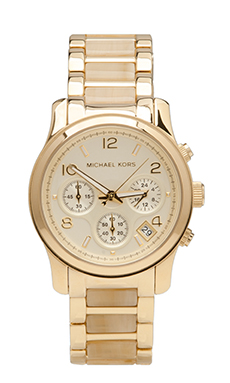 Michael Kors Runway Chronograph Watch in Bone/Gold