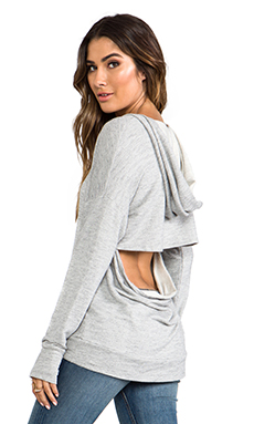 Michael Lauren Coby Pullover Hoodie w/ Open Back in Heather Grey
