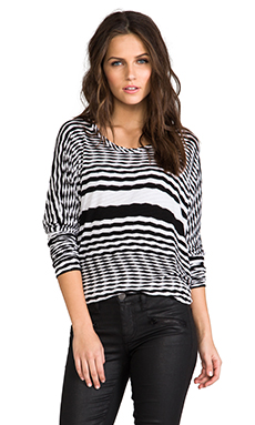 Michael Lauren Drake Zig Zag Long Sleeve Top in White