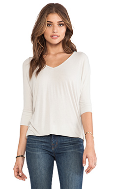 Michael Lauren Dylan 3/4 V-Neck Draped Tee in Smoke