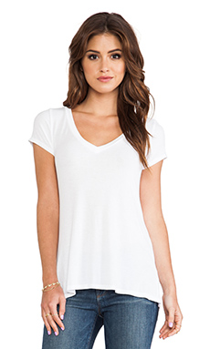 Michael Lauren Newman V Neck Tee in White