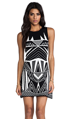 MLV Solange Jacquard Mini Dress in Black/White