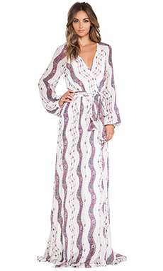 Marchesa Voyage Maxi Wrap Dress in White Stripe