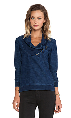 Maison Scotch Home Alone Collared Sweatshirt in Navy