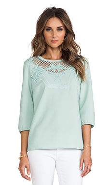 Maison Scotch Embroidered Long Sleeve Blouse in Mint