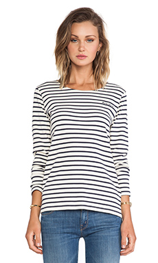Maison Scotch Long Sleeve Top in Cream & Navy Stripe