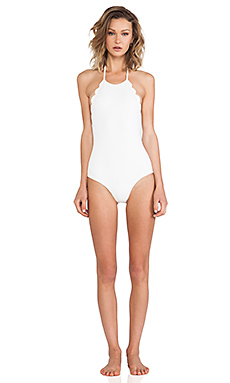 HALTER LOW BACK SCALLOP ONE PIECE