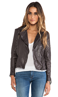 Muubaa Rokel Quilted Biker Jacket in Mocha Grey