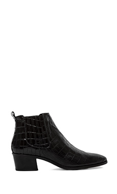MODERN VICE COLLECTION Handler Bootie in Black Embossed Croc
