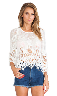 Myne Leo Crochet Bell Sleeve Top in White