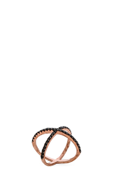 Natalie B Jewelry Galaxy X Ring in Rosegold & Black