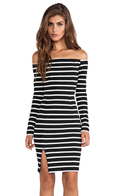 NICHOLAS Riviera Stripe Off Shoulder Long Sleeve Dress in Black & White