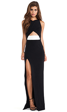 NICHOLAS Tech Stretch Wrap Gown in Black