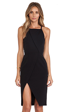 NICHOLAS Tech Stretch Halter Neck Dress in Black
